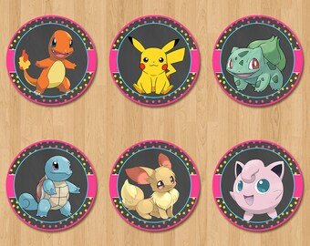 Pokemon Cupcake Toppers - Chalkboard PInk, Yellow + Blue - Girl Pokemon Birthday Party - Pokemon Party Favors - Pokemon Sticker - Pikachu