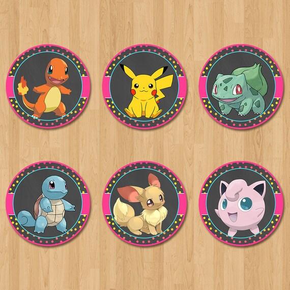 Pokemon Cupcake Toppers - Chalkboard PInk, Yellow + Blue - Girl Pokemon Birthday Party - Pokemon Party Favors - Pokemon Sticker - Pikachu