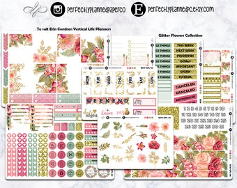 Glitter Flowers Collection  // A La Carte // Erin Condren Vertical  and Happy Planner Classic [015]