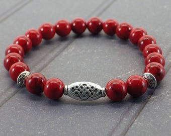 Zen ethnic Thurcolas bracelet with red Turquoise beads and Tibetan silver plated beads