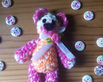 Mini Crocheted Teddy Bear with Satin Ribbon and Rose
