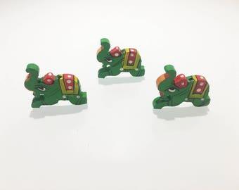 10pcs - Handicraft/Wooden Elephants/Wooden Buttons - Green