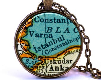 Istanbul Map Pendant Necklace - Created from a 1937 map. Map Jewelry, Map Necklace, Map Pendant, Custom Jewelry, Personalized Jewelry