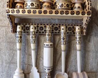 Wooden kitchen accessories salt pepper shaker wall mounted #d109