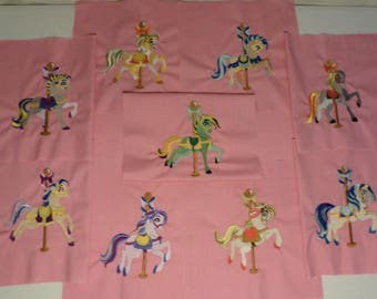 Lot of 9 Carousel Horses Embroidered Quilt Blocks