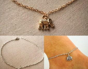ankle bracelet, silver elephant anklet, gold anklet, elephant pendant, silver anklet, anklet, lucky elephant, womens anklets,anklet,bracelet