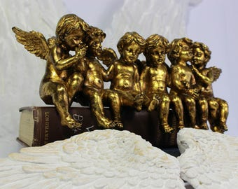 Gold Angel Figures, Cupid, Cherubs, Christmas Gift, Valentine, Fairy Wing, Angel Wing, Haven, Wedding and Shower Decor
