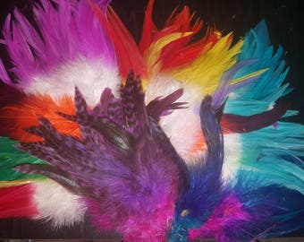 100+ Tie-Dyed Rooster Feathers, Grizzly and Solid, for Feather Extensions, Crafting or Fly-Fishing