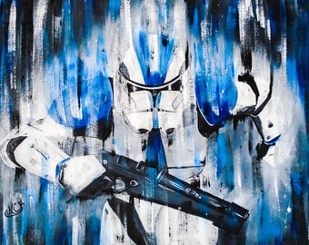 Stormtrooper blue, acrylic on canvas mounted on frame, handmade, original