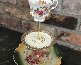 Vintage hand made 3 tier tea stand