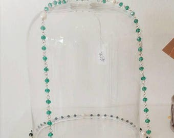 TERMINATOCollana spanning more than 100 cm in silver with Swarovski crystals and pearls. Available in green and blue