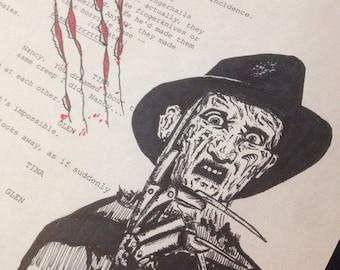Original Freddy Krueger drawing on Nightmare on Elm Street script page