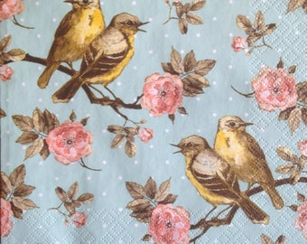 4 Decoupage Paper Napkins Vintage Birds Flowers on Branches for Decoupage Scrapbooking Crafts 075