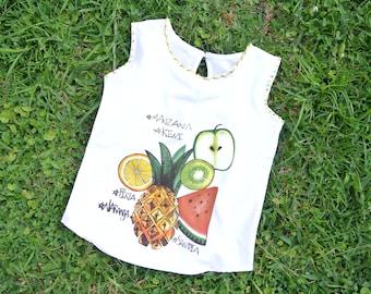 Fruit Girls Shirt / Tutti Frutti Girls Shirt / Girl's Clothing / T-shirt Art
