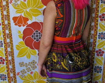 Vintage 1970s Vibrant Purple, Orange, Yellow Sleeveless Maxi Dress