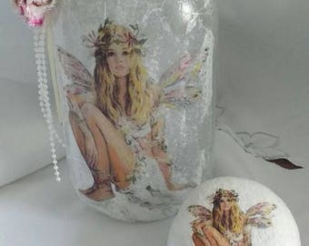 Fairy in a jar enchanted lands matching pebble paperweight