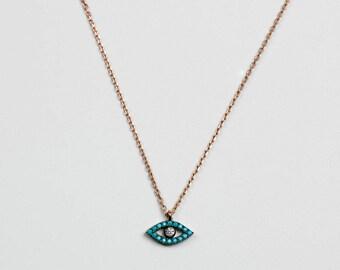 Silver Necklace Eye Shape Pendant