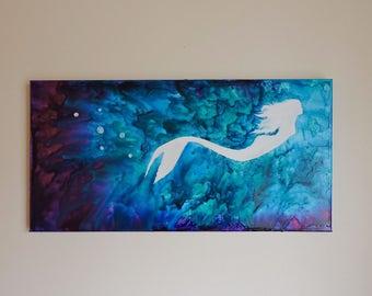 Mermaid Silhouette Crayon Art