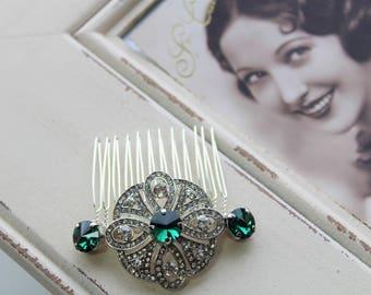 Emerald Green Art Deco Hair Comb , Vintage Style Crystal Hair Comb, Art Deco headpiece, Bridal Headpiece, Wedding Hair Comb