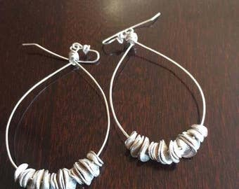 Large hoop, drop silver earrings Unique