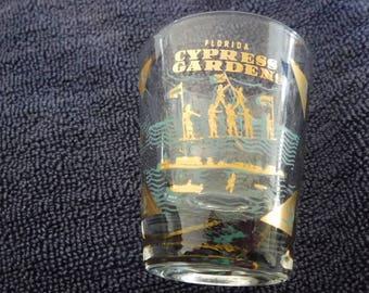 Cypress Gardens Florida Golf Leaf Shot Glass 1980's