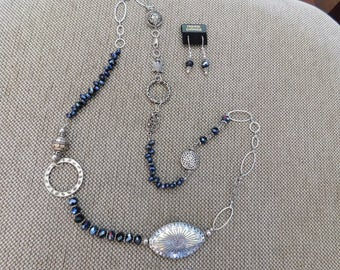 Long Navy Beaded Necklace