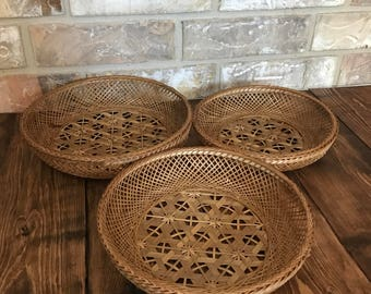 Woven wicker basket set of 3