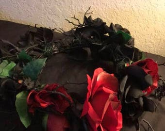 Red and Black Thorny Flower Crown