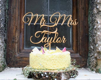 Personalised Wooden Wedding Cake Topper Rustic & Trendy (made in UK)
