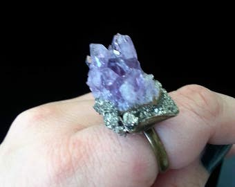 Amethyst statement ring adjustable base metal with pyrite around the base
