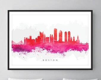 Boston Skyline, Boston Massachusetts Cityscape Art Print, Wall Art, Watercolor, Watercolour Art Decor [SWBOS09]