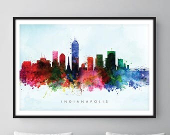 Indianapolis Skyline, Indianapolis Indiana Cityscape Art Print, Wall Art, Watercolor, Watercolour Art Decor