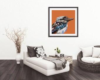 Kookaburra print, more variations,bird art print,Australian bird on orange/blue,palette knife oil,fine art print,wall print, home decor