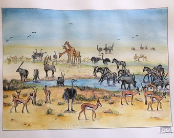 "ORIGINAL ART: ""Wish I Was There"" watercolor, color pencil, and ink painting of Savannah animals and wild life at a water hole in Africa"