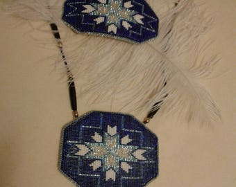 Royal Blue Star Burst Healing Necklace and Barrette