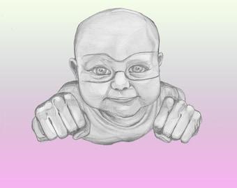 Baby Portrait / Superhero / Original Artwork/ Fine Arts Print / Poster /Painting / Drawing