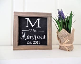"""Personalized Last Name Sign Established Wooden Sign Family Name Wood Sign Letter Small Sign Picture Wall Wedding Gift 7"""" x 7"""""""