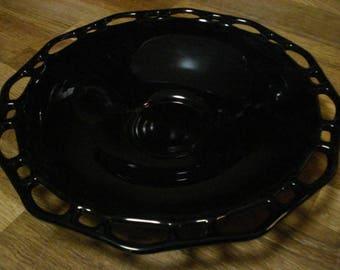 PRICE REDUCED!  Black Amethyst Glass Presentation Bowl, Lace Edge