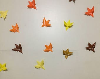 20 Twenty Origami Autumn Leaves in Orange, Yellow, Brown Fall Colors