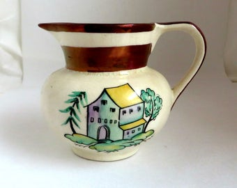 Gray's Pottery Hand Painted Pitcher, Vintage Gold Lustre Creamer, English Pottery