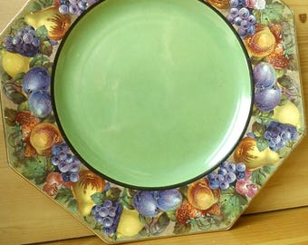 Octagonal Side Plate Green with fruit border