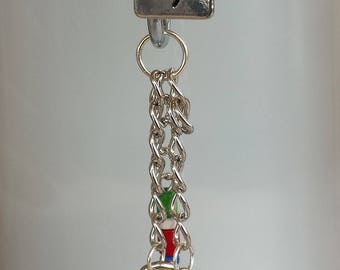 Autism keychain with Hope square charm