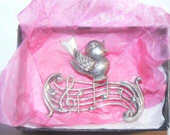 Sterling Lang Singing Bird Pin
