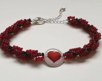 Black and red spiral bracelet with love heart focal bead