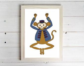 Just Hanging Around - Unframed Art Print, Monkey Drawing, Nursery Picture, Animal Wall Art, Children's Decor, Kid's Bedroom.