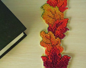 """Bookmark with embroidery """"Autumn gold"""", fans to read, CrossStitch Bookmark"""