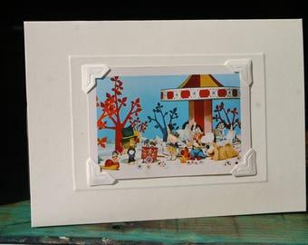 Handmade greetings/birthday card. Genuine vintage playing card, 1970s, The Magic Roundabout. Retro kids' TV.