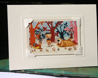 Handmade greetings/birthday card. Genuine vintage playing card, 1970s, The Magic Roundabout - Brian, Florence & Dougal. Retro kids' TV.