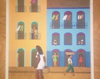 Oil painting street scene Siegniert: ze 1970 Cordeiro