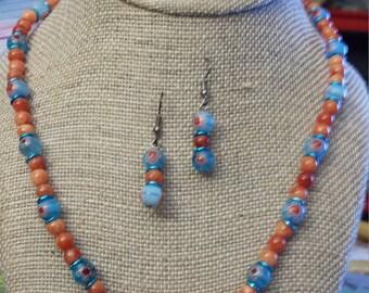 Orange quartz and millefiori beaded necklace